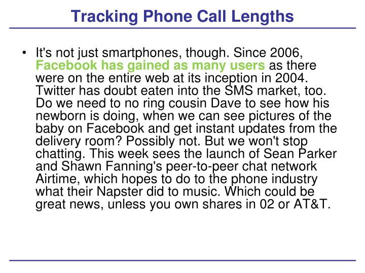 Tracking Phone Call Lengths