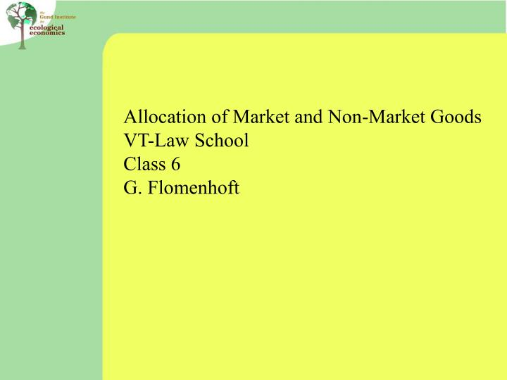 Allocation of Market and Non-Market Goods