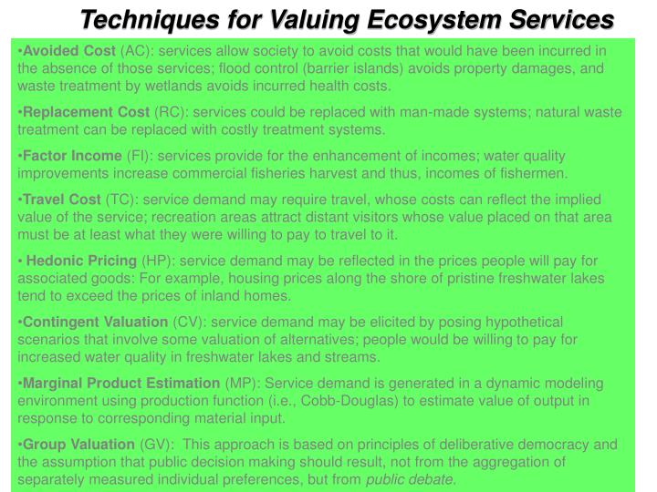 Techniques for Valuing Ecosystem Services