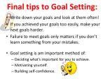 final tips to goal setting
