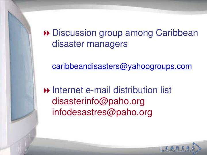 Discussion group among Caribbean disaster managers