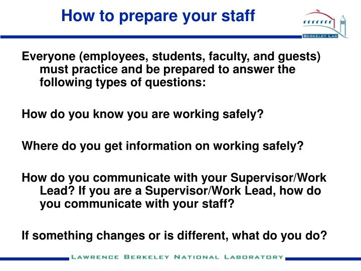 How to prepare your staff
