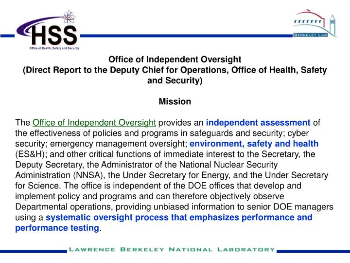 Office of Independent Oversight
