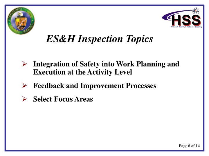 ES&H Inspection Topics