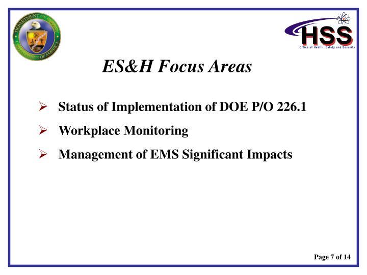 ES&H Focus Areas