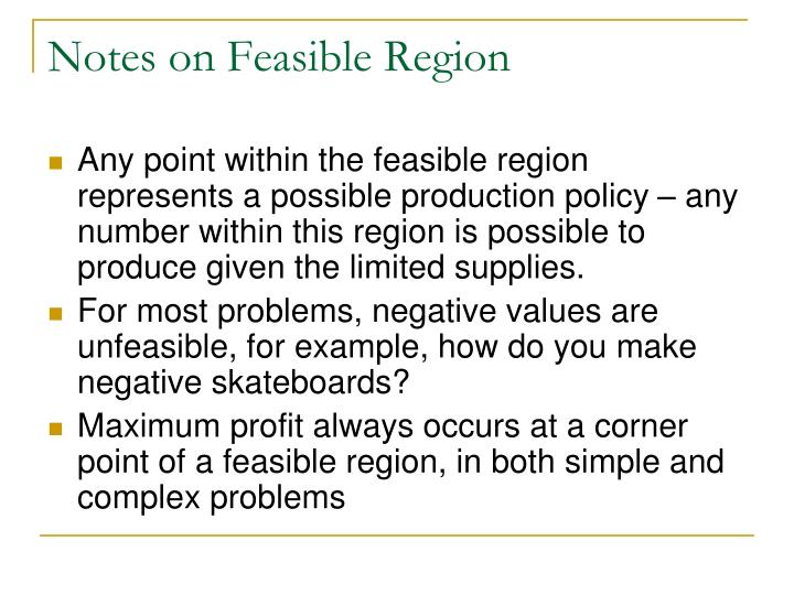 Notes on Feasible Region