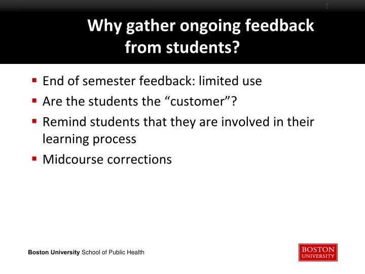 End of semester feedback: limited use