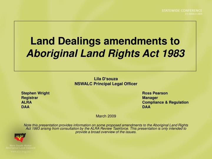 Land Dealings amendments to