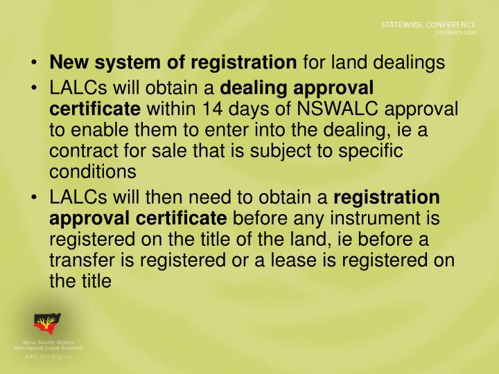 New system of registration