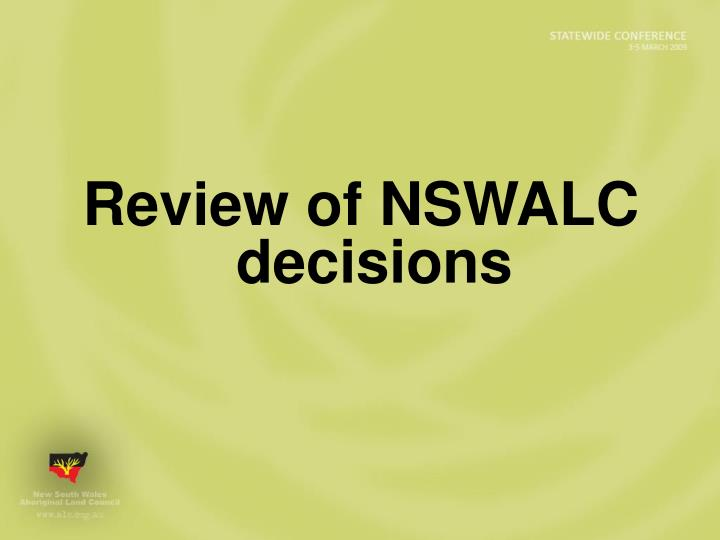 Review of NSWALC decisions