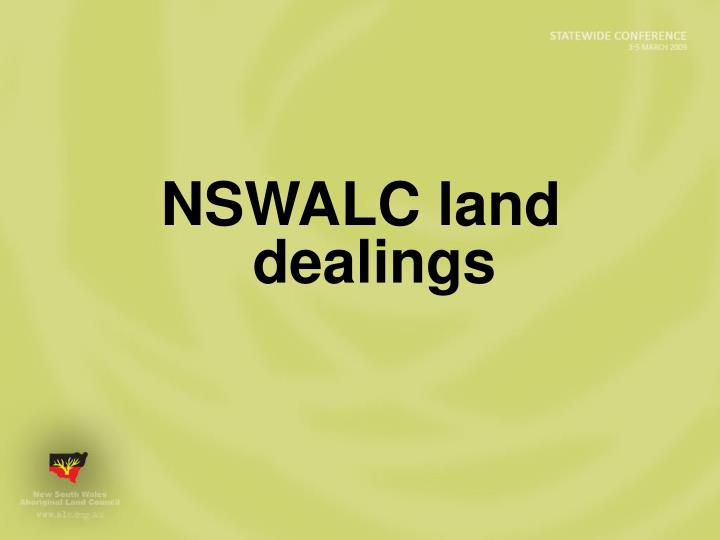 NSWALC land dealings
