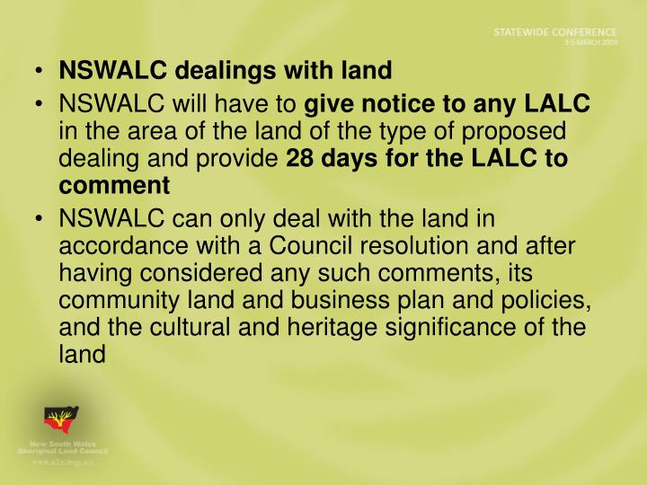 NSWALC dealings with land