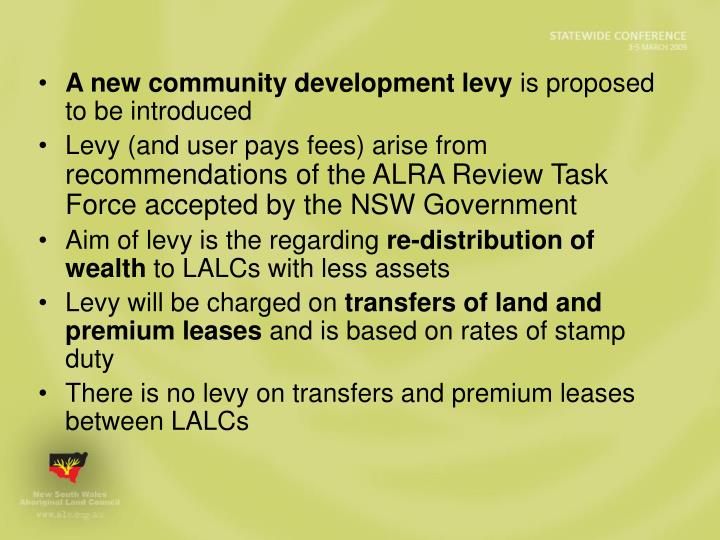 A new community development levy