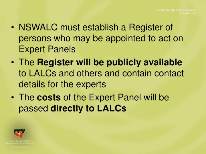 NSWALC must establish a Register of persons who may be appointed to act on Expert Panels