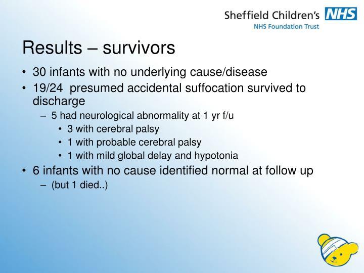 Results – survivors