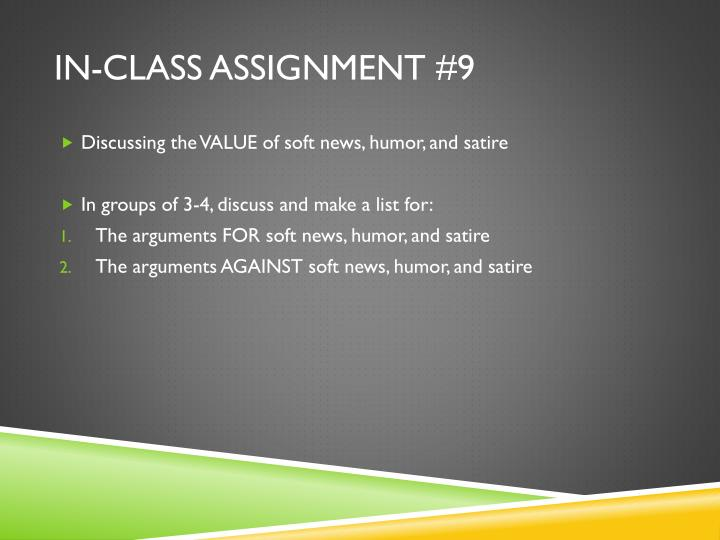 In-Class Assignment #9