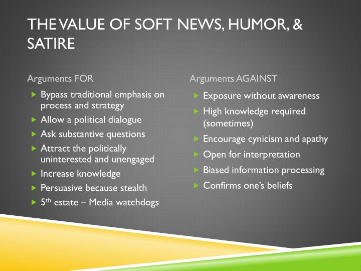 The Value of Soft news, humor, & Satire