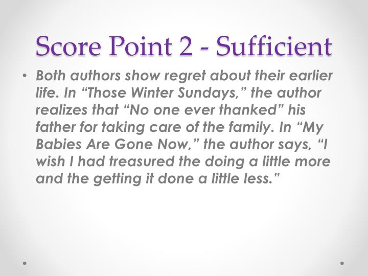Score Point 2 - Sufficient