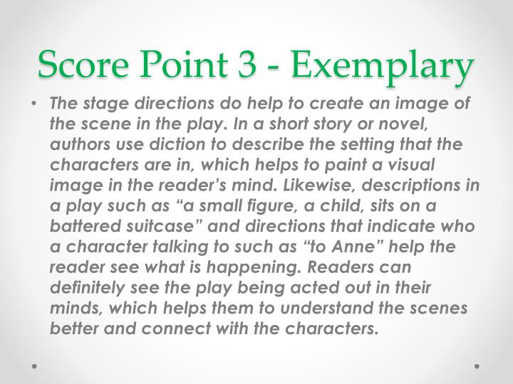 Score Point 3 - Exemplary