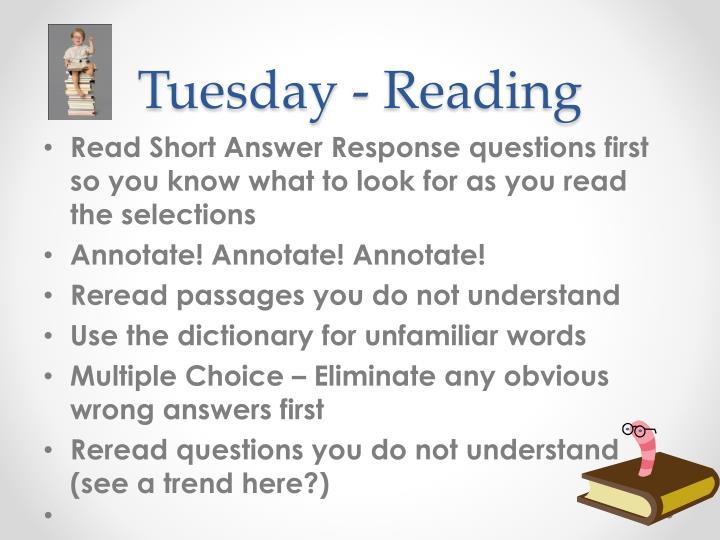 Tuesday - Reading