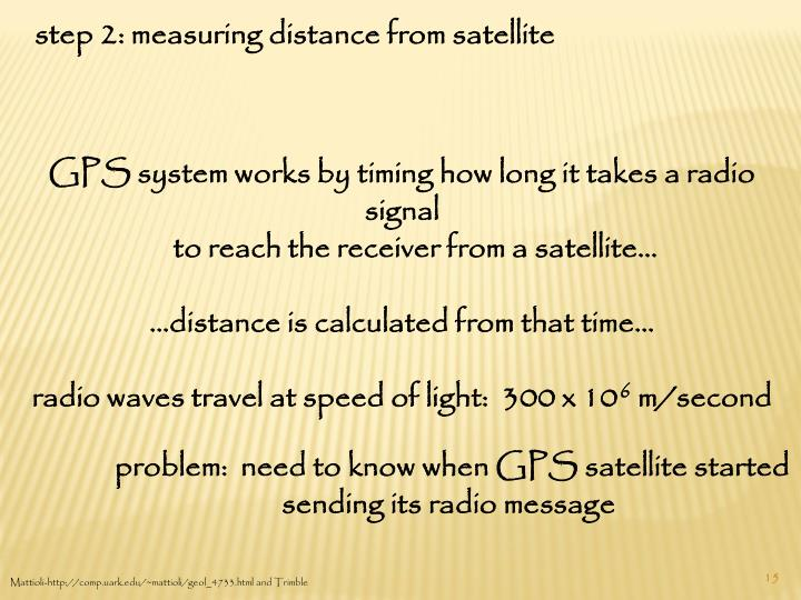 step 2: measuring distance from satellite