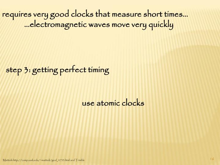 requires very good clocks that measure short times…