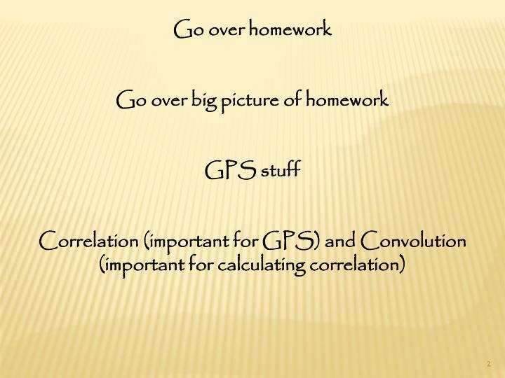 Go over homework