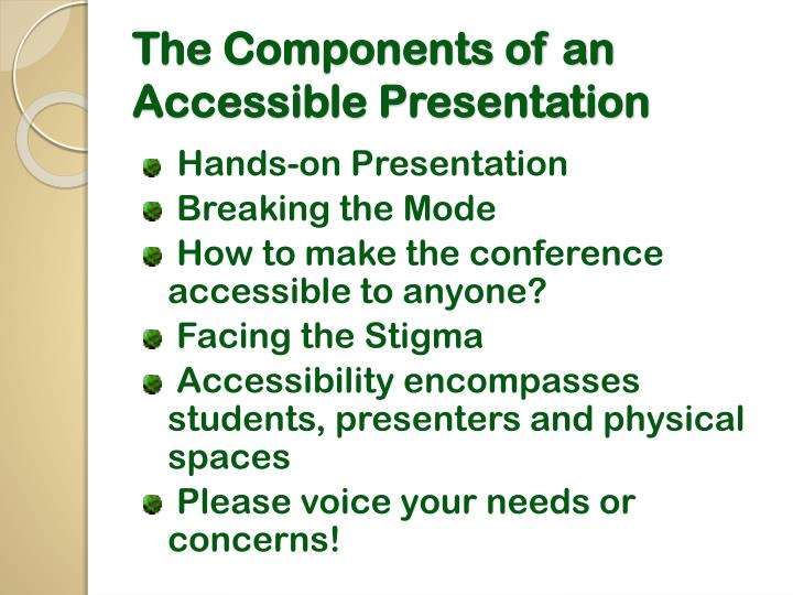 The components of an accessible presentation1