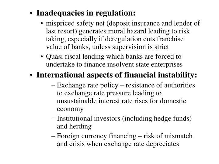 Inadequacies in regulation: