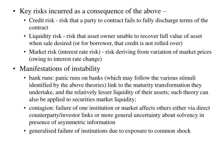 Key risks incurred as a consequence of the above –