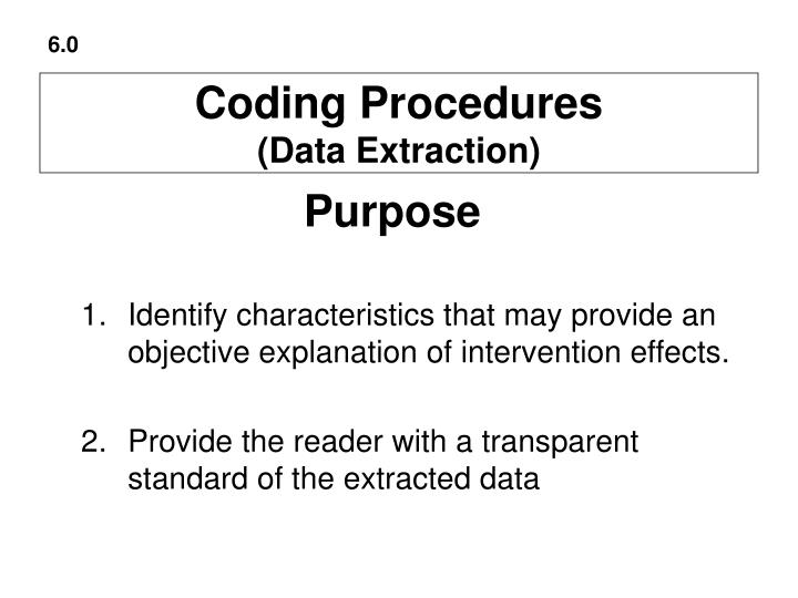 Coding procedures data extraction