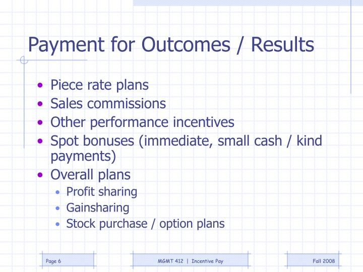 Payment for Outcomes / Results