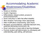 accommodating academic weaknesses disabilities