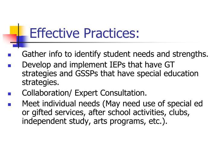 Effective Practices: