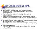 id considerations cont