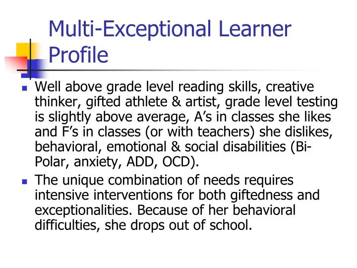 Multi-Exceptional Learner Profile