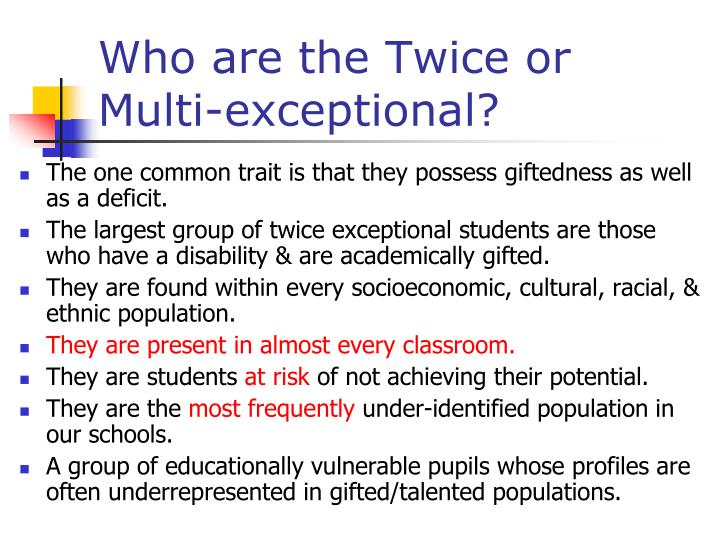Who are the Twice or Multi-exceptional?