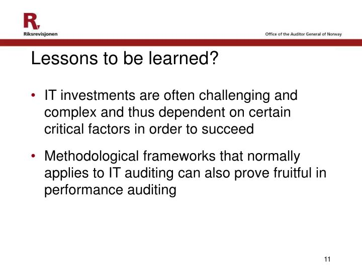Lessons to be learned?