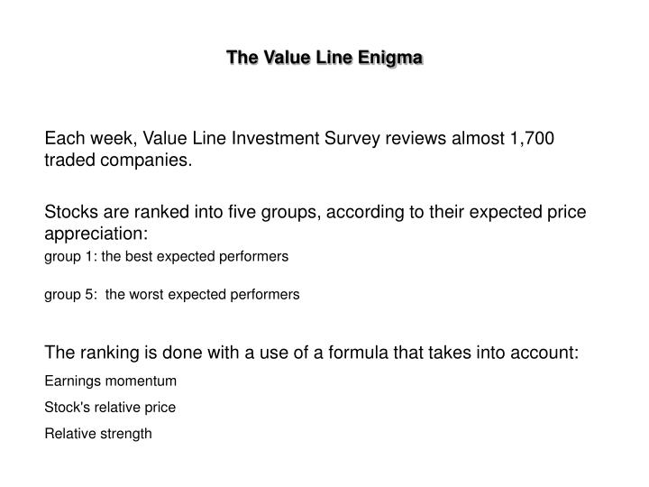 value line investment survey Value line includes a weekly online presentation of their investment survey, full- page reports with analyst commentaries, timeliness™, safety™ , and.
