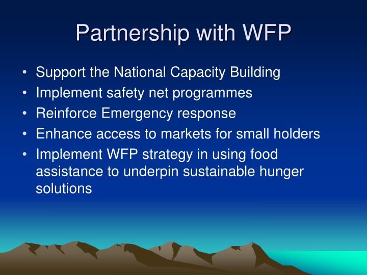 Partnership with WFP