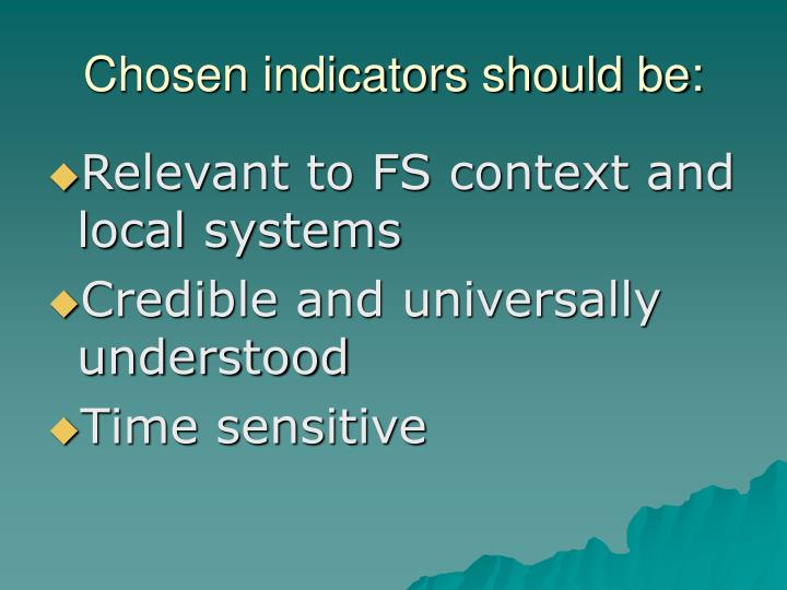 Chosen indicators should be: