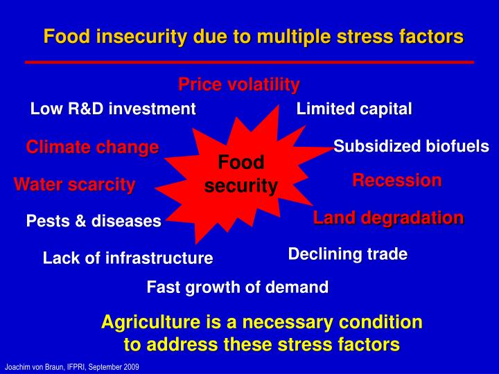 Food insecurity due to multiple stress factors