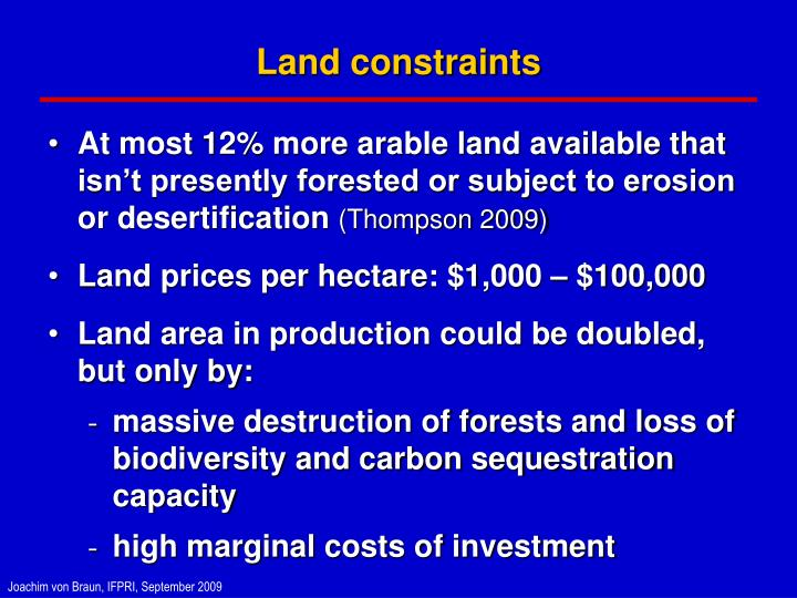 Land constraints