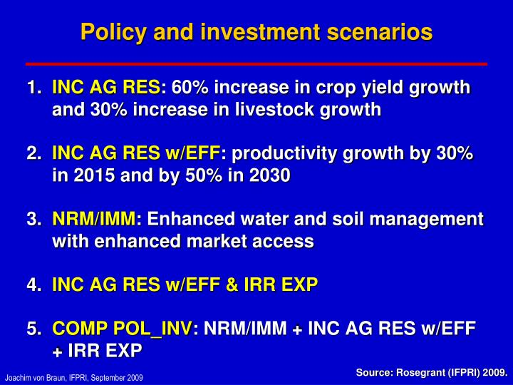 Policy and investment scenarios