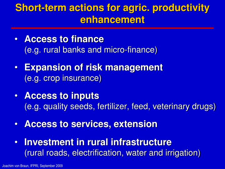 Short-term actions for agric. productivity enhancement