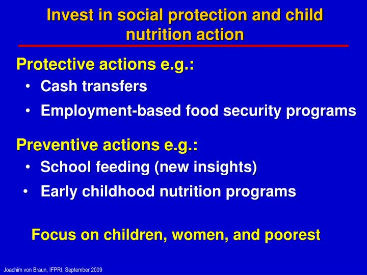 Invest in social protection and child nutrition action