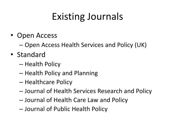 Existing Journals
