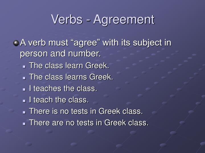 Verbs - Agreement