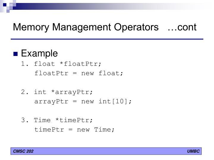 Memory Management Operators   …cont