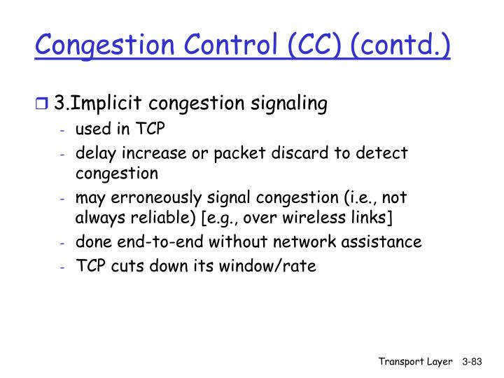 Congestion Control (CC) (contd.)